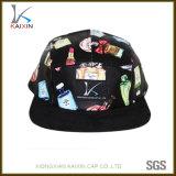 Chapéu floral feito sob encomenda do painel do couro 5 com a correção de programa tecida da etiqueta
