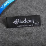 Escritura de la etiqueta tejida Recyled rectangular de encargo para la ropa