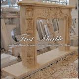 Cheminée de marbre Mfp-341 d'or de désert de cheminée de granit de cheminée en pierre de cheminée