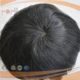 Toupee cheio humano do Mens da parte dianteira do laço da borda do plutônio da base do laço do cabelo curto de 100% (PPG-l-0894)