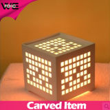 DIY Carved Square Table LED Display plástico-madeira lâmpada