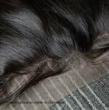 Frontal de lacet du cheveu 13X4 de bonheur trois/libres/partie moyenne de dessus de lacet suisse de Brzilian de Vierge de cheveux humains de parties droites de face de frontal