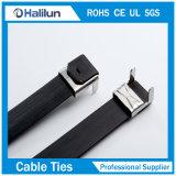 Tipo revestido ataduras de cables del bloqueo del ala del PVC del acero inoxidable