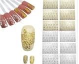 серебряный стикер ногтя стикеров искусствоа ногтя цветка золота 3D