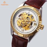 Reloj mecánico esquelético de lujo 72456 de la venda del cuero de la alta calidad de los relojes
