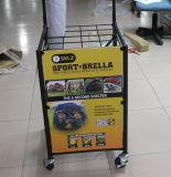 Crémaillère d'étalage debout en métal d'étage mobile de détail avec 4 roues