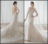 Vestido de casamento nu Hb2018 do laço do forro dos vestidos nupciais da sereia