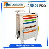 병원 플라스틱 비상사태 크래쉬 손수레, 구급술 트롤리, 바퀴 (GT-TA3810)를 가진 의학 손수레