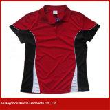 Camisetas negras rojas del polo del deporte de la alta calidad de encargo de la impresión para los hombres (P100)