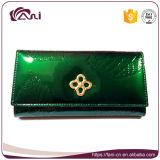 De nieuwe Portefeuilles van het Leer van de Luxe van het Ontwerp voor Vrouwen, Groen Blad maakten Dame Leather Purse in reliëf