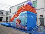 낙지 수영장을%s 가진 팽창식 물 미끄럼 또는 팽창식 활주