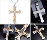 方法ステンレス鋼の銀の金の星の十字の吊り下げ式のバイカーの人のチェーンネックレス