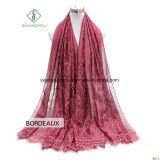 Einfache Farbband-Gleichheit gefärbte Stickerei-Spitze-Dame Fashion Silk Scarf
