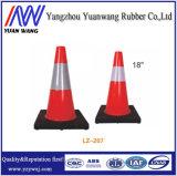 Conos de goma del tráfico de camino del PE reflexivo rojo y blanco con la altura 450m m