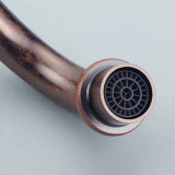 Faucet vermelho do banho da bacia do banheiro do giro do bronze 360 de Flg