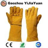 Перчатка заварки руки безопасности предохранения от Ce En12477 кожаный с резьбой Кевлар
