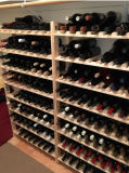 Crémaillère rustique classique de vin de présentoir en bois 8-Tier 120-Bottle