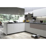 Modern White Matt Lacquer Modern Kitchen Cabinet with Breakfast Bar