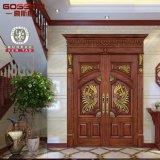 Instalar la puerta de madera de la entrada de caoba de madera de la puerta de la entrada doble (GSP1-017)