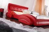 Bilden-In der China-Bett-Rahmen-Schraube ledernes Bett G929