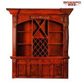 Стеллаж для выставки товаров вина домашнего шкафа вина мебели деревянного деревянный (GSP9-047)