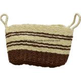 2つのハンドルおよび弓が付いている手によって編まれるペーパーストリングかわいいバスケット袋