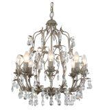 Piccolo mini lampadario a bracci a cristallo decorativo bianco del ferro saldato per la camera da letto