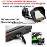 4.3inch IP65 Waterproof Outdoor Sports Action Moto Bike Car Navigation GPS avec casque Bluetooth, transmetteur FM, Wince 6.0, Cortex-A7, 800MHz, GPS-4350