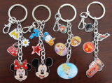 Fördernde Schlüsselketten-Ringe Customerized Minnie der Geschenk Portachiavi- Prinzessin-Epoxy Logo Decklack-Schlüsselringe