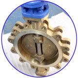Válvula de borboleta Offset triplicar-se do talão do bronze C95800 da engrenagem de sem-fim