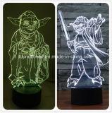Nuovi indicatori luminosi variopinti matrici di notte di Star Wars Yoda LED 3D