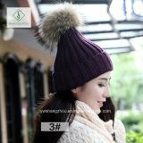 2017 neuen handgemachten Waschbär-Pelzpompoms-Form-Dame Knitted Hat
