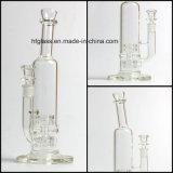 14 pouces de Mobius de l'eau de pipe de fumage en verre avec deux la matrice Perc dans le narguilé impétueux de barboteur commun de taille de 14.4mm