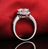 Anillos de bodas románticos plateados plata cristalina del contrato de la CZ del anillo de la manera de la venta al por mayor 2016 para la joyería fina de la talla 6-10 del dedo del aniversario de las mujeres