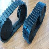 Trilha de borracha com as rodas para o projeto do robô (130*18.5*76)