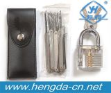 Yh9257 Transparent Padlock Practice Series #3 com 12PCS Locksmith Tools