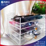 Organisateur acrylique clair de renivellement de 5 rangées avec la molette en cristal