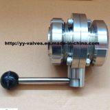 Tipo Sanitário Válvula da União do Aço Inoxidável de Borboleta (100128)