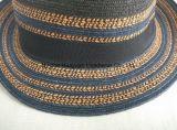 Cappello di paglia cucito colore Mixed della fedora della treccia