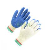 Хлопок Bleach 10 датчиков/резина вкладыша полиэфира голубая покрыли на перчатке работы ладони