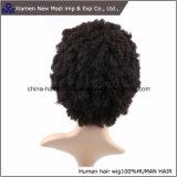 도매 까만 색깔 간결 아프로 비꼬인 인간적인 가발