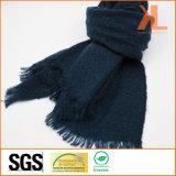 Blu marino caldo di inverno acrilico di modo/sciarpa tessuta griglia dentellare con frangia