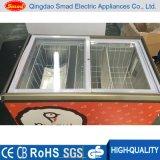 Mostra lisa da exposição do congelador da caixa da porta de vidro de deslizamento
