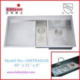 DrainboardのTopmountのステンレス鋼のハンドメイドの流しは、手作りする流し、台所の流し、洗面器(HMTD4021R)を