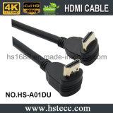 De horizontale Kabel van de Hoge snelheid van pvc HDMI van 90 Graad