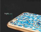 Caja de electrochapado transparente del teléfono celular del estilo TPU de la joyería del Rhinestone de Bling
