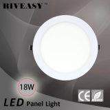 18W luz redonda de la luz del panel del acrílico LED LED con la luz del panel aislada Ce del programa piloto