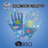 Bunter Abdruck-blauer Nitril-Sicherheits-Arbeits-Handschuh