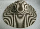 Sombrero 100% de paja del poliester de la cinta de la raya