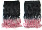 Longues extensions de cheveu ondulé de vente de gradient chaud de couleur avec le clip